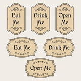 Eat, Drink, Open Me vintage labels Stock Photo