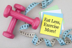 Eat Less Exercise More Diet Concept Royalty Free Stock Photography