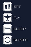 Eat Fly Sleep Repeat Icons on blue background.  Royalty Free Stock Photos