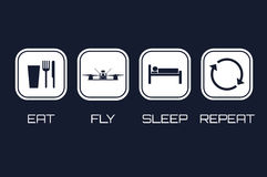 Free Eat Fly Sleep Repeat Icons. Funny Schedule For Racing Quadrocopter Pilots Royalty Free Stock Photo - 93241095
