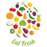 Eat fresh label with fruit and vegetable Stock Photography