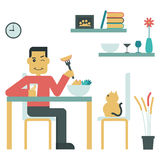 Eat Good Food. Illustration of young man eat salad at home Stock Photo