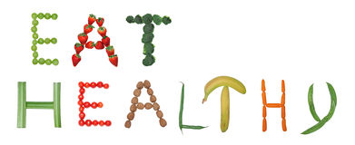Eat healthy. Fruit and vegetable letters Stock Photo