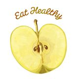 Eat Healthy - Apple. Healthy foods template, that reads Eat Healthy and has an apple on it Royalty Free Stock Photography