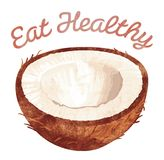 Eat Healthy - Coconut. Healthy foods template, that reads Eat Healthy and has a coconut on it Royalty Free Stock Photo