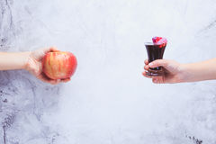 Eat healthy! Concept of healthy food. Concept of junk food. Chil Stock Photos