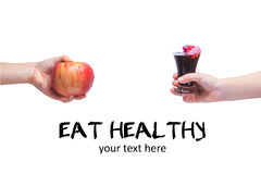 Eat healthy! Concept of healthy food. Concept of junk food. Chil Stock Photo
