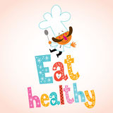 Eat healthy decorative type with chef character Stock Photography