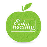 Eat a healthy diet. Green Apple, vector. Natural product. motivational poster or banner. background signs leaves - vector illustration stock illustration