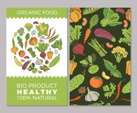 Cards with vegetables. Eat healthy food poster with fresh fruits and vegetables on blackboard. Circle composition from food Stock Photography