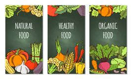 Poster with vegetables. Eat healthy food poster with fresh vegetables on blackboard Stock Photo