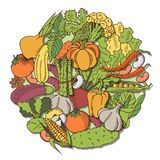 Poster with vegetables. Eat healthy food poster with fresh vegetables on blackboard Royalty Free Stock Images