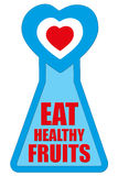 Eat Healthy Fruits Badge for Health Concept Campaign Stock Images