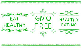 EAT HEALTHY, GMO FREE, HEALTHY EATING icons isolated on white. Handwritten letters, VECTOR. royalty free illustration