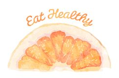 Eat Healthy - Grapefruit. Healthy foods template, that reads Eat Healthy and has a grapefruit on it Royalty Free Stock Photo