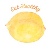 Eat Healthy - Lemon. Healthy foods template, that reads Eat Healthy and has a lemon on it Royalty Free Stock Photo
