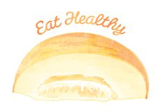 Eat Healthy - Melon. Healthy foods template, that reads Eat Healthy and has a melon on it Royalty Free Stock Photos