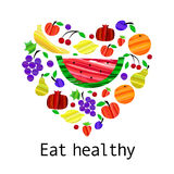 Eat healthy motivation banner with fruits in trendy brush cute style. Vector illustration. vector illustration