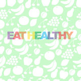 Eat healthy - motivational poster or banner with colorful  phrase eat healthy  with  icons and signs of fruits Stock Image