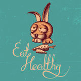 Eat Healthy Rabbit Poster Stock Images