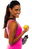 Eat healthy, stay fit. Smiling african girl. Royalty Free Stock Photography