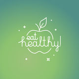 Eat healthy. Vector linear poster in trendy mono line style with hand-lettering quote - eat healthy - organic and fresh food concept royalty free illustration
