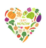 Eat healthy. Vegetable heart with eat healthy sign stock illustration