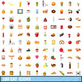 100 eat icons set, cartoon style Stock Photos