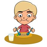 Eat. Illustration of a boy eating a lot Stock Image