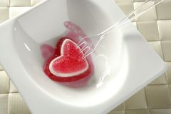 Eat a jelly strawberry bloody heart Royalty Free Stock Photo
