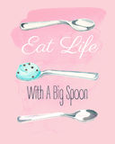 Eat life with a big spoon watercolor illustration on pink background. Royalty Free Stock Photos