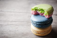 Eat of macaron closeup Stock Photography