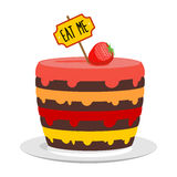Eat me. Big cake with strawberries. Magic pie from Alice in Wond Royalty Free Stock Photos