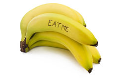 Eat me bunch of bananas on white Stock Photos