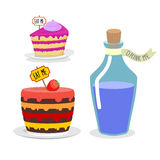 Eat me cake. Drink Me potion. Set meal for Alice in Wonderland. Big birthday pie with cherries. Blue Magic elixir in bottle Stock Photos