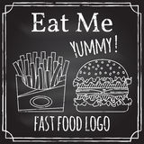 Eat me. Elements on the theme of the restaurant business.  Chalk Stock Image