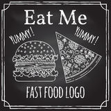 Eat me. Elements on the theme of the restaurant business.  Chalk drawing on a blackboard. Logo, branding,  logotype,  badge  with. A  burger and pizza.  Fast Stock Photography