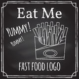 Eat me. Elements on the theme of the restaurant business.  Chalk Stock Photo