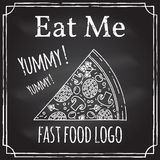 Eat me. Elements on the theme of the restaurant business.  Chalk Royalty Free Stock Photography