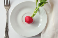 Eat me!. Ore red radish on white plate on white background with fork and napkin; top view Stock Images