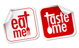Eat me and taste me stickers. On white background Royalty Free Stock Photo