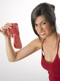 Dont EAT Raw Meat Woman Wrinkles Face royalty free stock photo