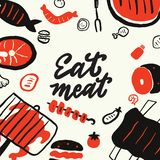 Eat meat. Funny hand drawn backdrop with different food elements Grill, barbeque, steak restaurant design concept. Isolated on. White background, made in vector vector illustration
