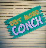 Eat more conch sign. In Turks and Caicos Stock Images