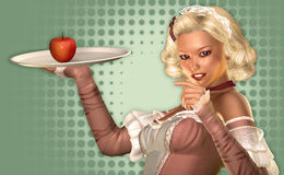 Eat more Fruits. A young woman in the style of the fifties holding a tray with an apple Stock Photos