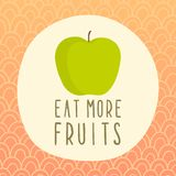 Eat more fruits card with green apple. Vector EPS 10 hand drawn illustration Royalty Free Stock Image
