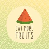 Eat more fruits card with piece of watermelon. Vector hand drawn illustration Royalty Free Stock Image