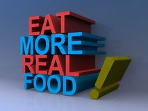 Eat more real food. Text 'eat more real food! ' illustrated in 3D red and blue uppercase letters, faded gray background stock illustration