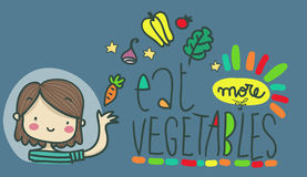 Eat more vegetables illustration advice Stock Images