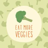 Eat more veggies card with broccoli. Stock Photo